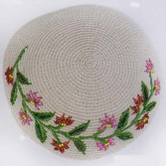 Women's Kippah - Cream and Rose