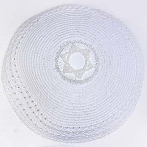 Women's Kippah - White w/Star