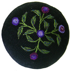 Women's Kippah - Black and Purple Floral