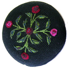 Women's Kippah - Black and Red Floral