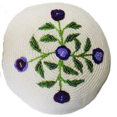 Women's Kippah - Cream and Purple Floral