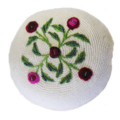 Women's Kippah - Cream and Red Floral