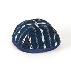 Fabric Kippah - Dark Blue Ikat