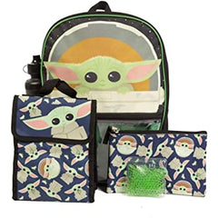 Star Wars Mandalorian Baby Yoda/The Child Kids Backpack Set, 16 inch, 5 Piece Value Set
