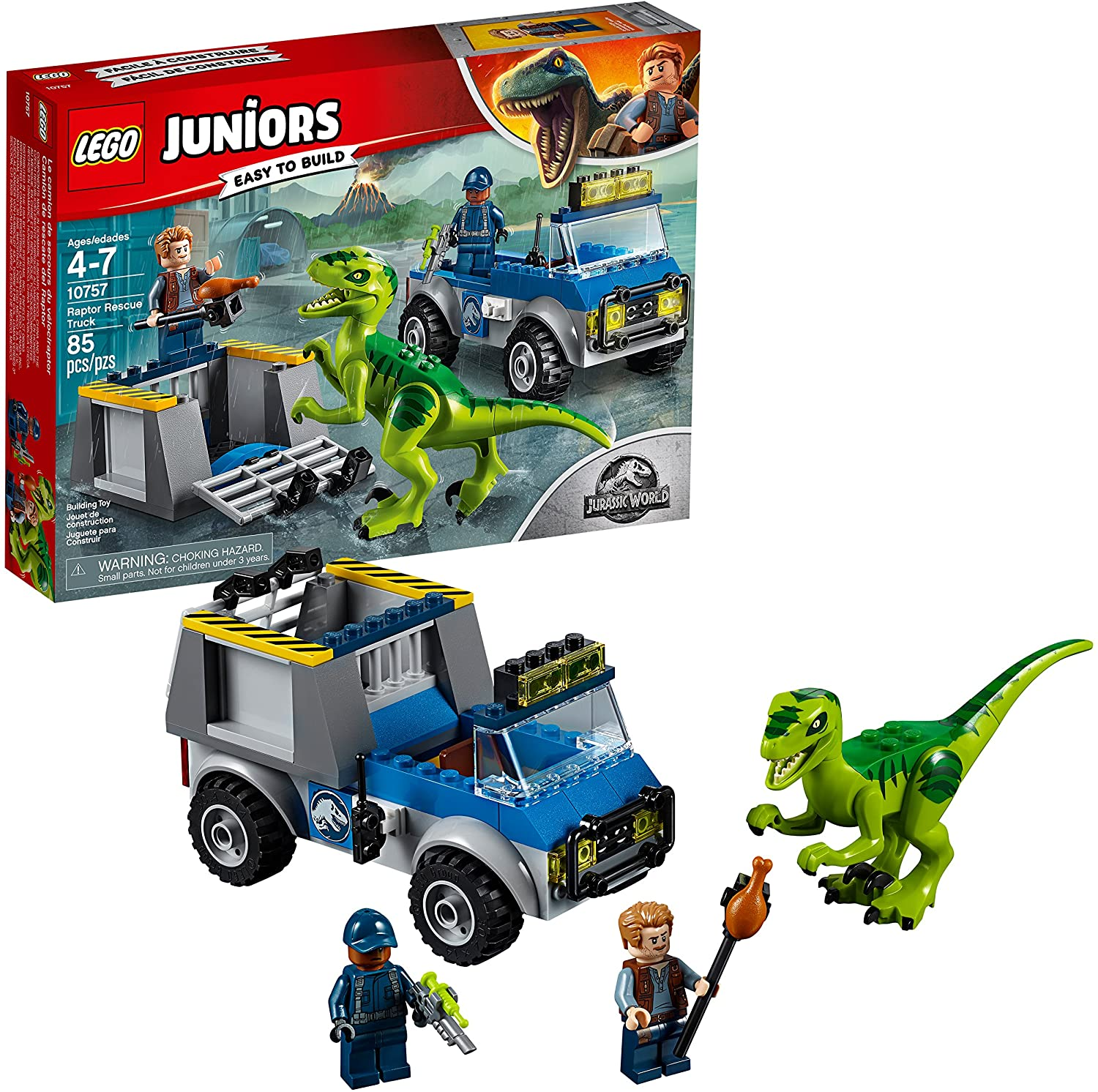Lego Jurassic World Raptor Rescue Truck Building Kit 10757 (85 Pieces)