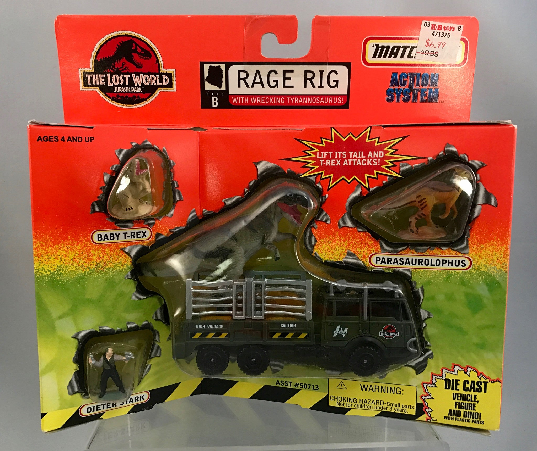 Vintage Jurassic Park The Lost World Matchbox Rage Rig w/ Wrecking Tyrannosaurus Die Cast