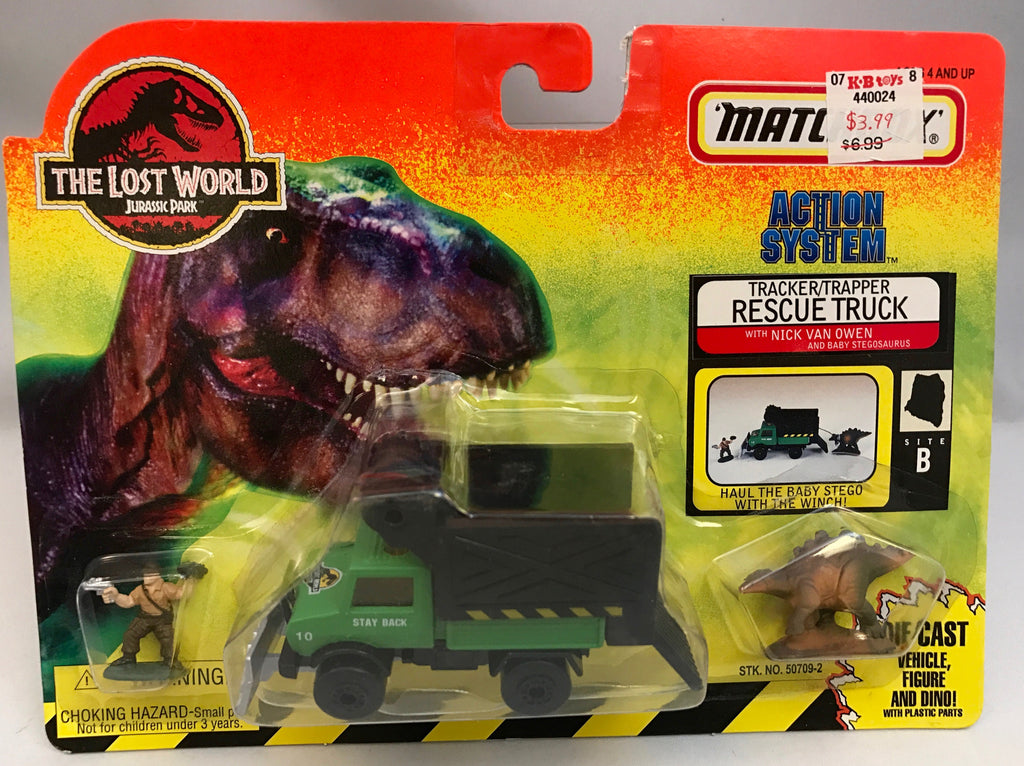 Vintage Jurassic Park The Lost World Matchbox Tracker/Trapper Rescue Truck w/ Nick Van Owen