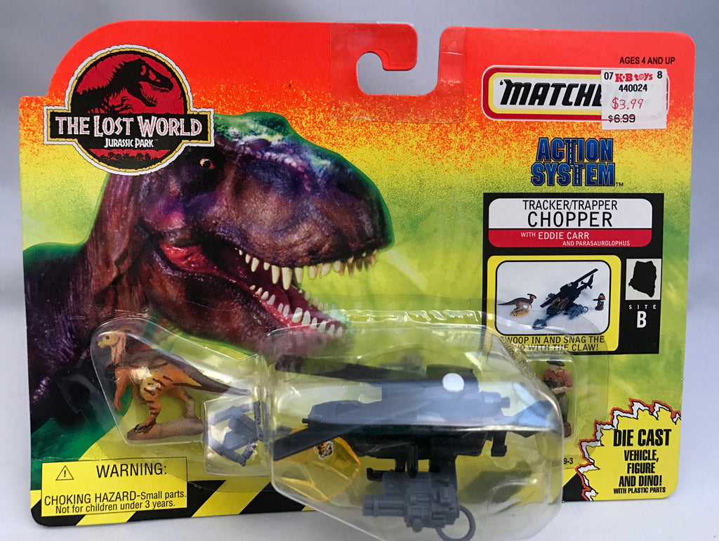 Vintage Jurassic Park The Lost World Matchbox Tracker/Trapper Chopper w/ Eddie Carr