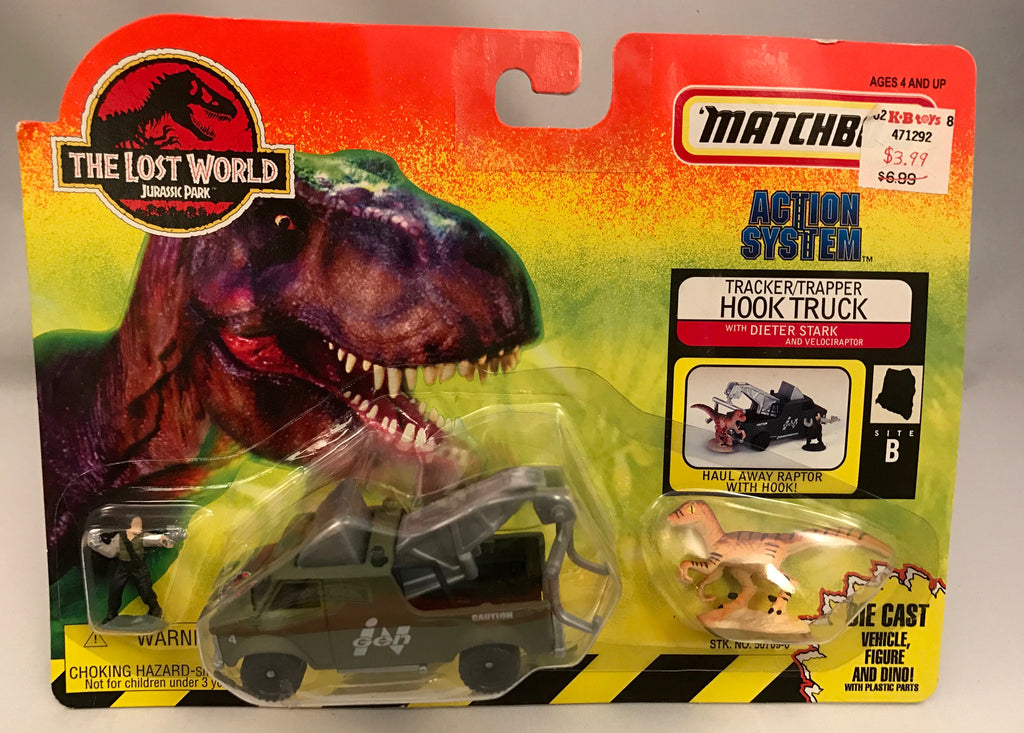 Vintage Jurassic Park The Lost World Matchbox Tracker/Trapper Hook Truck w/ Dieter Stark