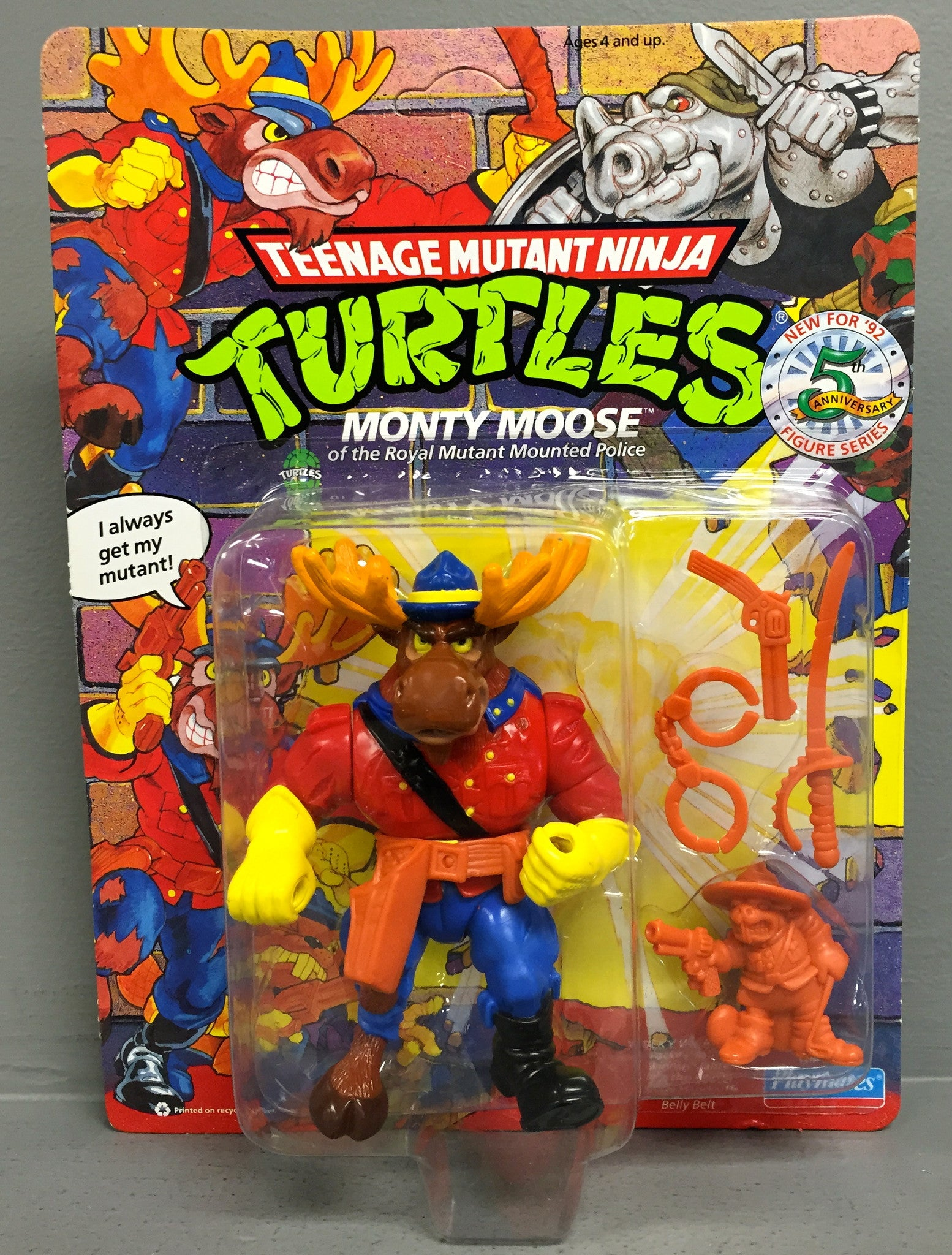 Vintage Teenage Mutant Ninja Turtles Monty Moose Action Figure