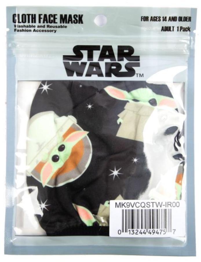 The Mandalorian The Child Baby Yoda Adjustable Face Cover (Black)