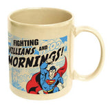 Superman Fighting Villains and Mornings Ceramic Mug