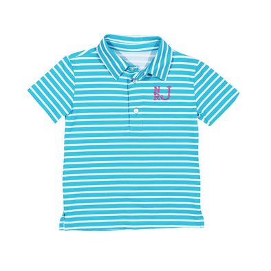 Turquoise Stripe Connor Polo