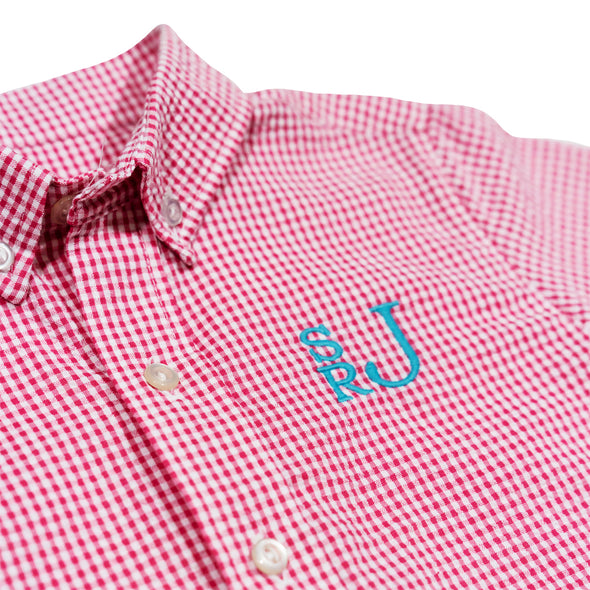 Hot Pink Seersucker Check James Button Down