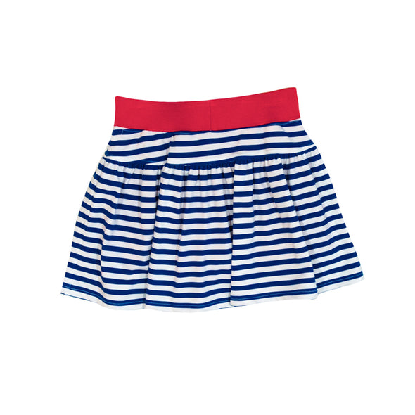 Navy Stripe Knit Patty Skort