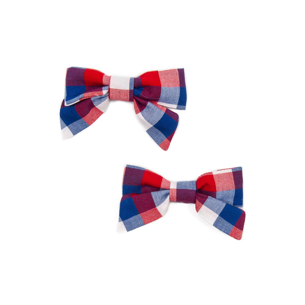 Patriotic Plaid Mindy Bows