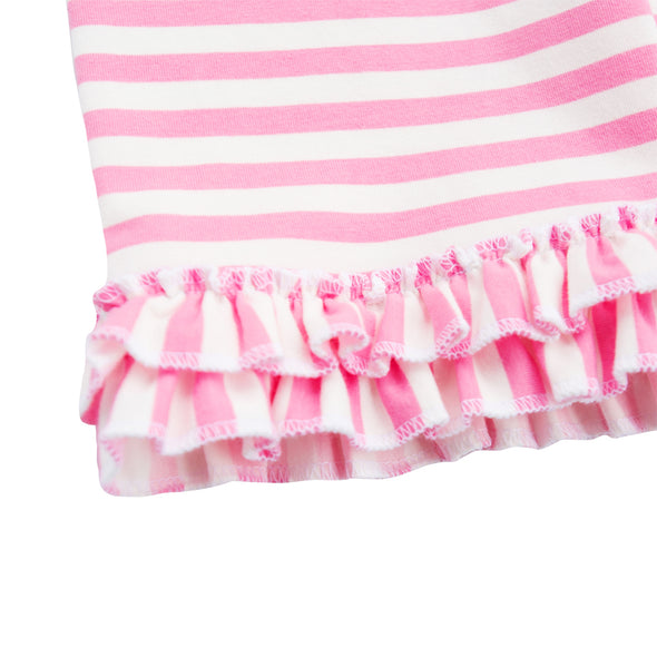 Pink Stripe Ruffle Knit Shorts