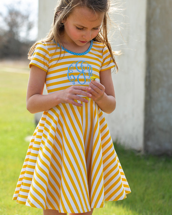 Yellow Stripe Annie Dress