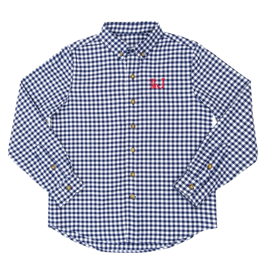 School Blue James Check Button Down