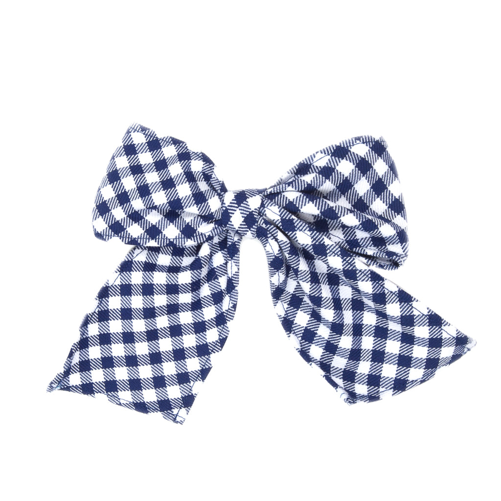 School Blue Sonni Check Bow