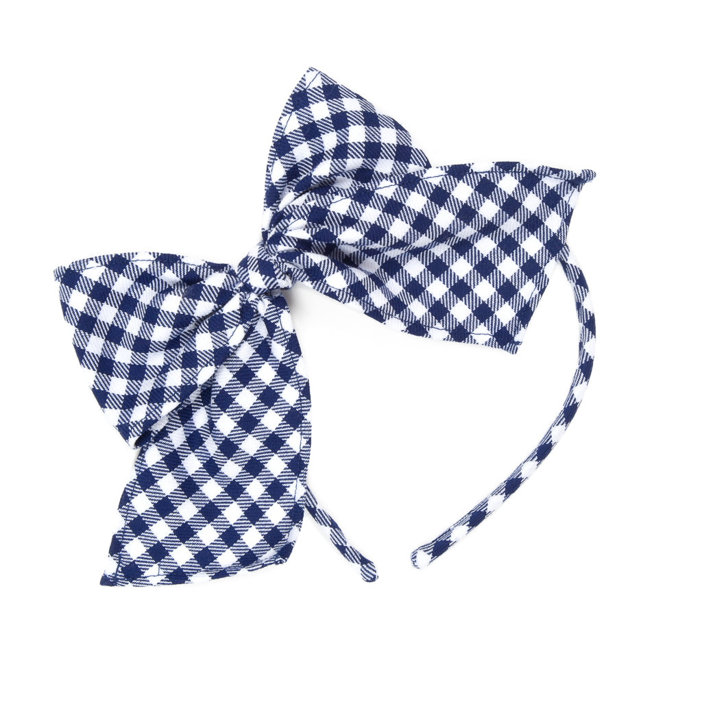 School Blue Bea Check Headband
