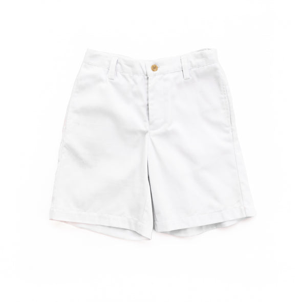 White Twill Classic Flat Front Shorts