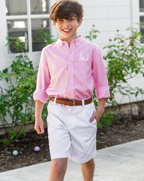 Pink Gingham James Button Down Shirt