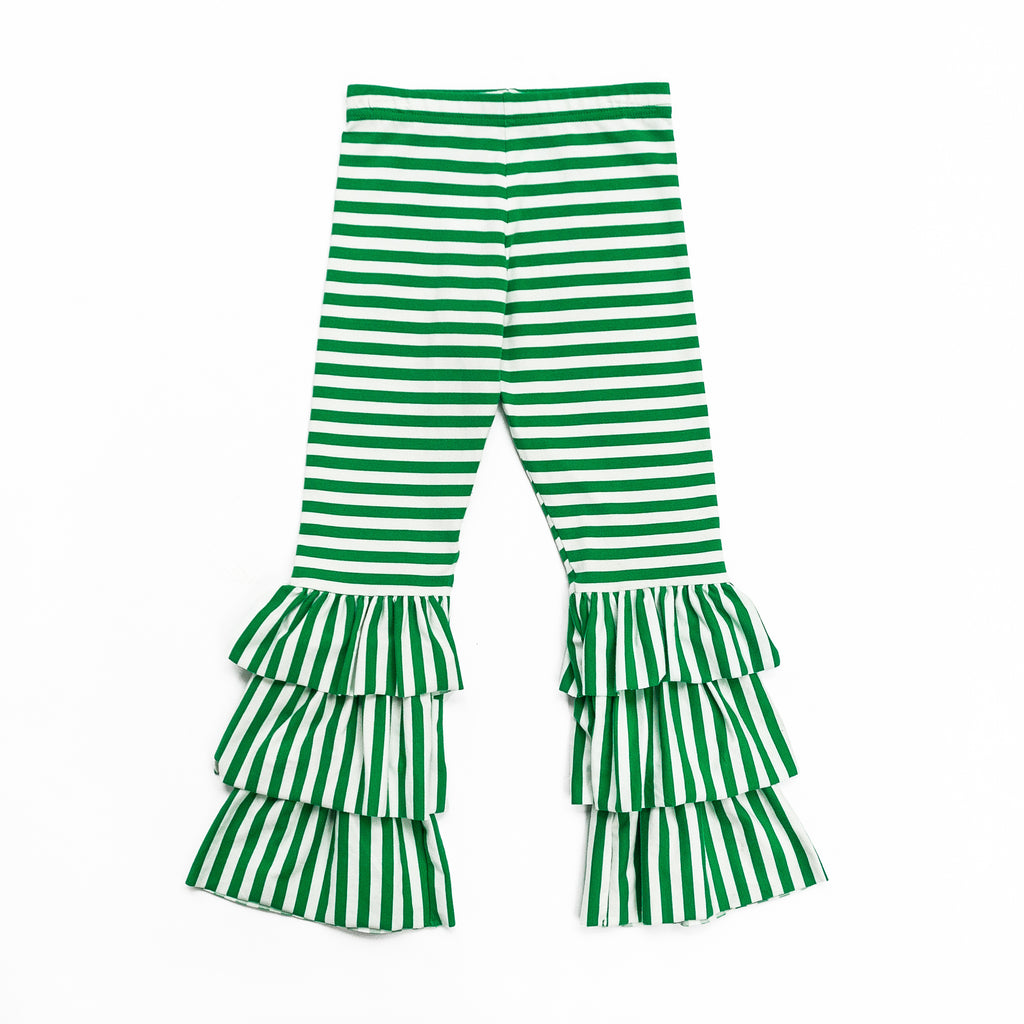 Green Stripe Triple Ruffle Pant