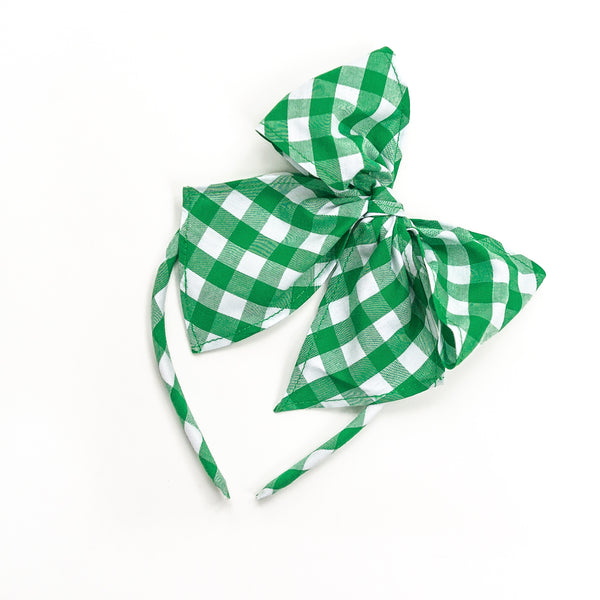 Green Check Bea Headband