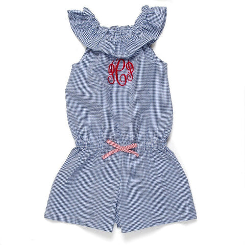 Patriotic Picnic Blue Check Michaela Romper