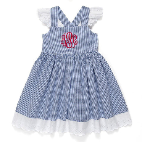 Patriotic Picnic Blue Check Margaret Dress
