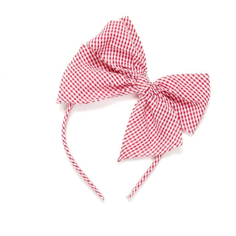 Patriotic Picnic Red Check Bea Headband