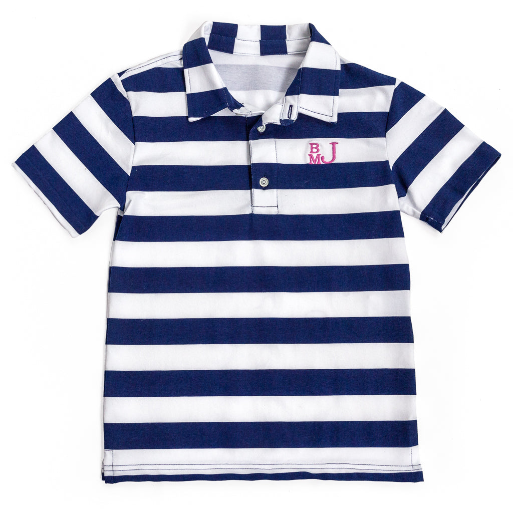 Navy Stripe Connor Polo