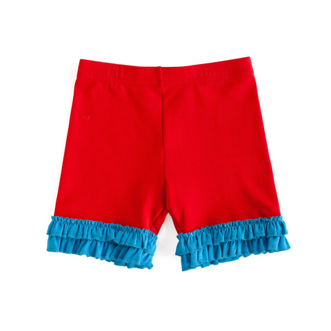 Red Brailey Ruffle Knit Shorts