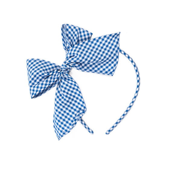 Royal Blue Check Bea Headband