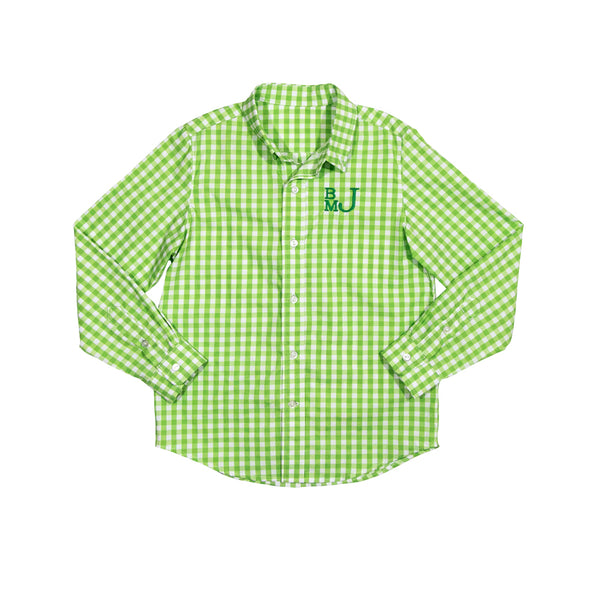 Green Gingham James Button Down