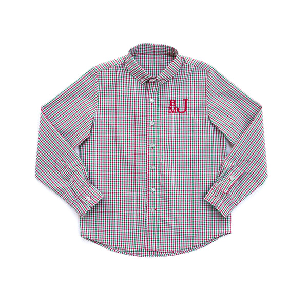Christmas Micro Check James Button Down Shirt