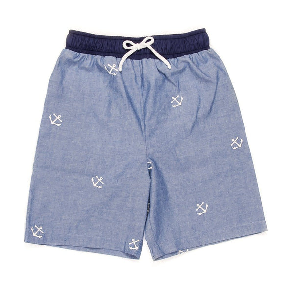Summer Swim Embroidered Chambray Ethan Swim Trunk