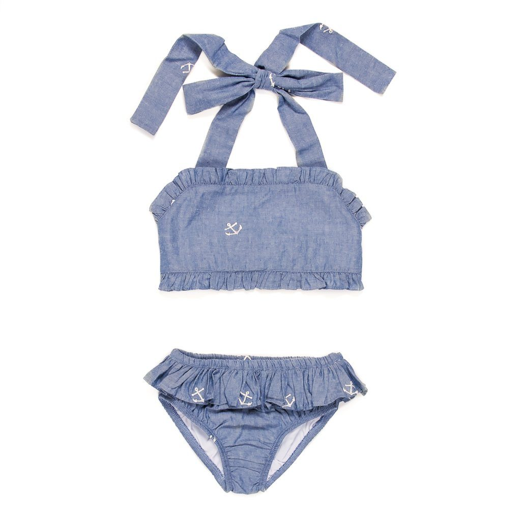 Summer Swim Embroidered Chambray Dana Bikini Set