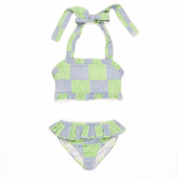 Summer Swim Seersucker Patchwork Dana Bikini Set