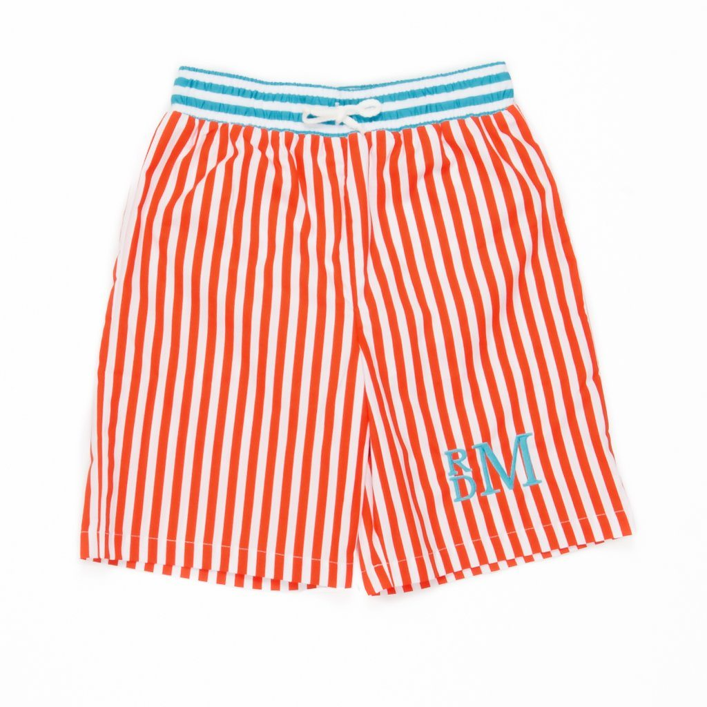 Summer Swim Orange Stripe Ethan Trunks