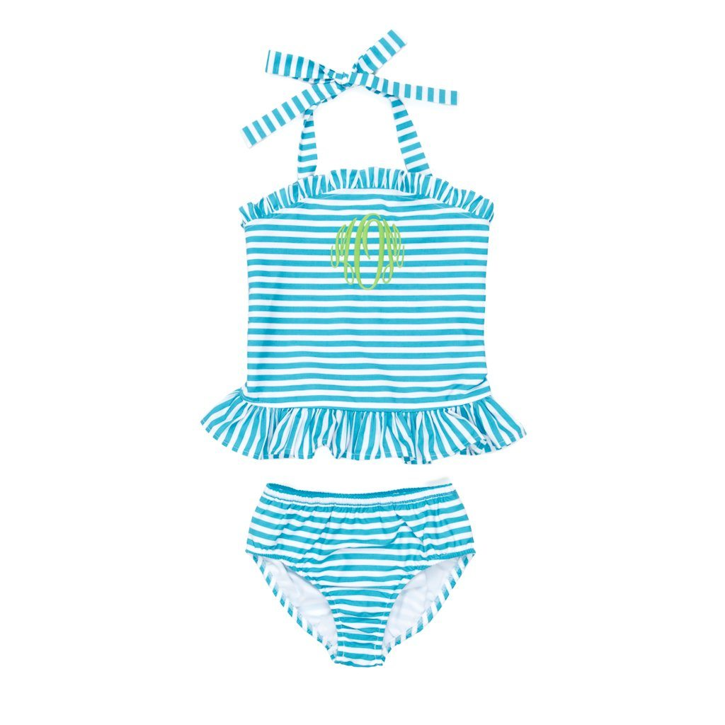 Summer Swim Turquoise Stripe Tankini Set