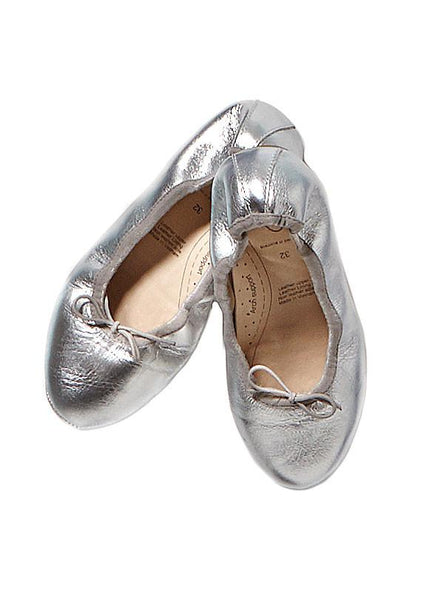 Silver Old Sole Leather Ballet Flats