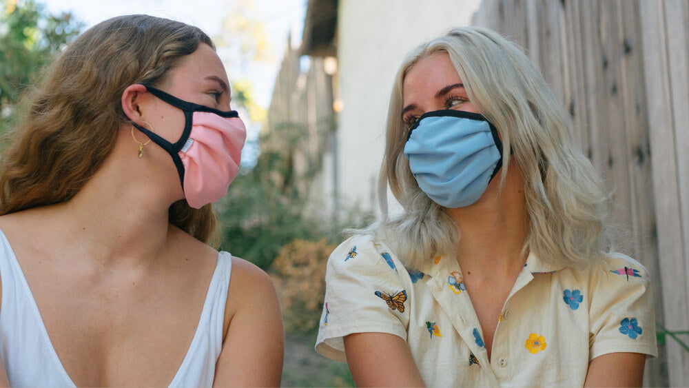 Sisters And Small Size Ear Loop Masks in Light Pink and Light Blue