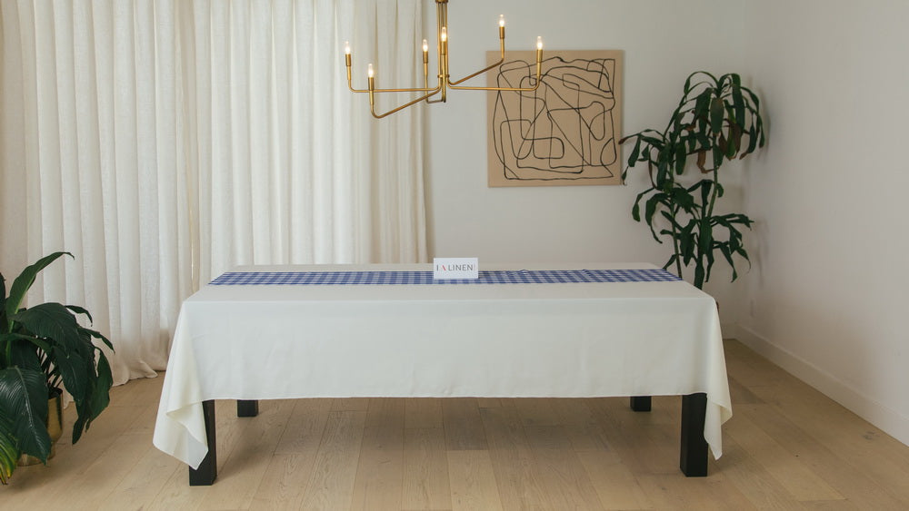 Checkered 14 Inch x 108 Inch Table Runner - White and Royal Blue