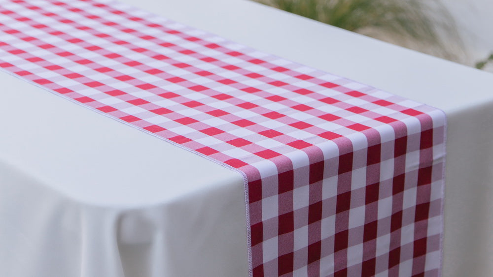 Checkered 14 Inch x 108 Inch Table Runner - White and Red
