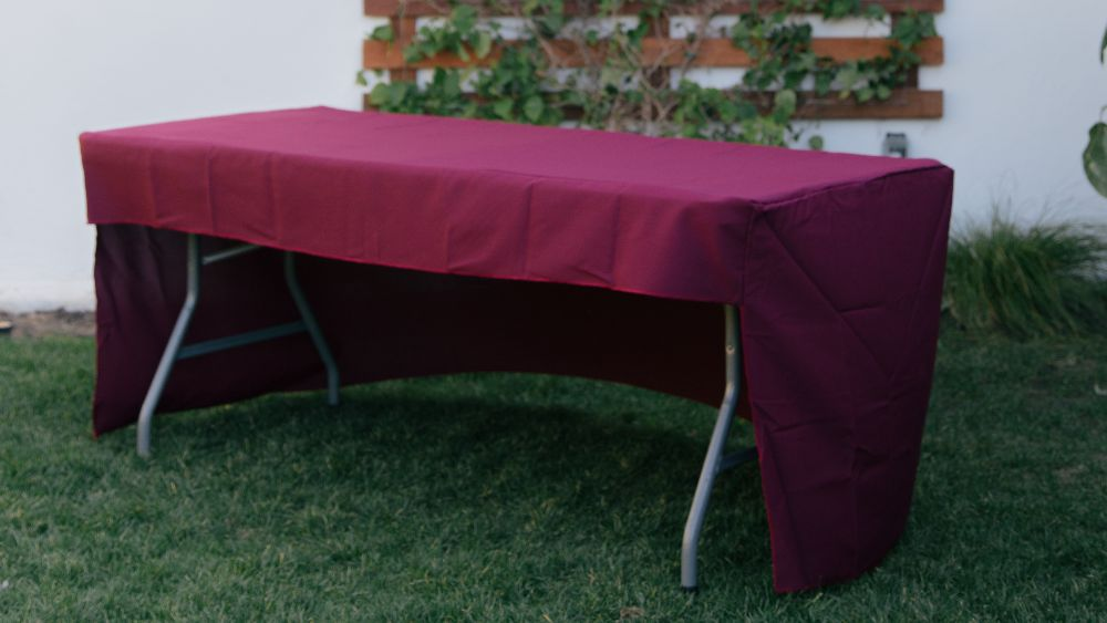 Open Back Polyester Poplin Fitted Tablecloth 96 by 30 by 30-Inch in Burgundy