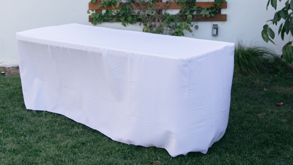 Polyester Poplin Fitted Tablecloth 72 by 24 by 30-Inch in White