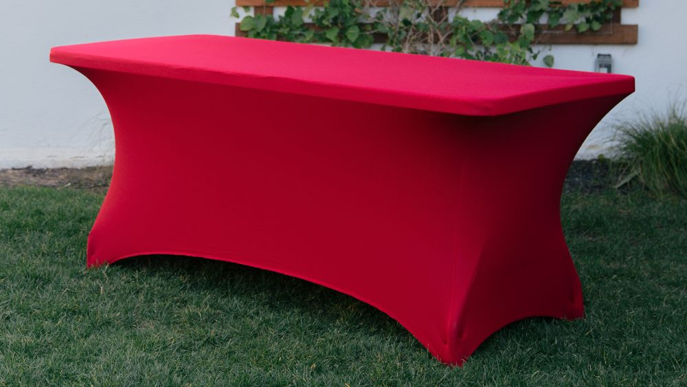 Spandex Fitted Tablecloth 72 by 30 by 30-Inch in Red
