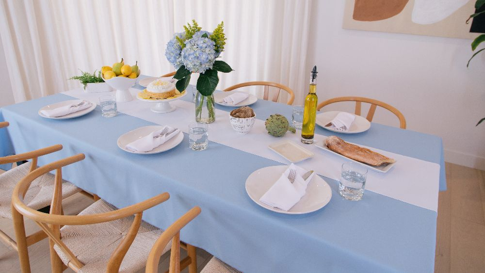 Polyester Poplin Rectangular Tablecloth 60 by 108-Inch in Light Blue